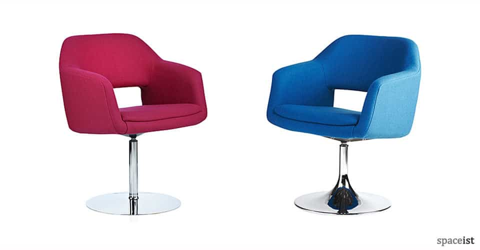 spaceist largo pink blue wool fabric reception chairs
