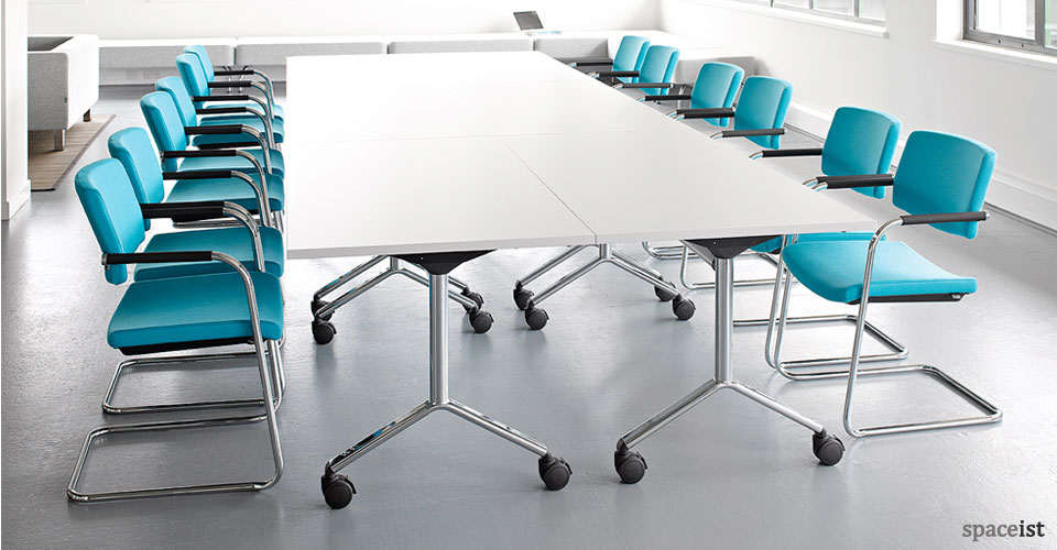 mix blue cantilever meeting room chairs