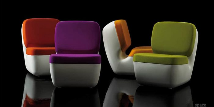 nimrod red purple orange green retro chairs