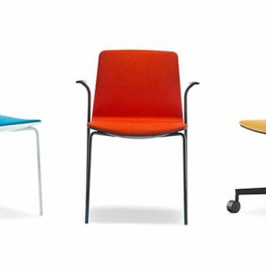 noa red blue yellow meeting room chair with a black frame