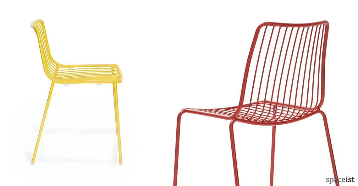 spaceist nolita yellow red steel cafe chair