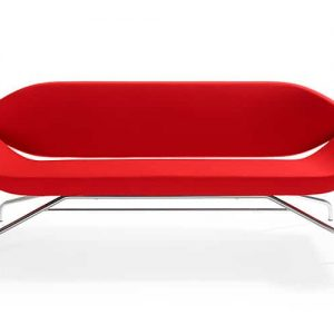 red designer retro reception sofas