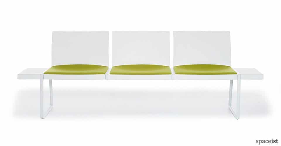 spaceist plural white green bench seating