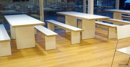 arts uni bournemouth white canteen benches