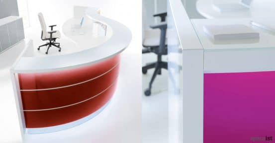 spaceist valde red reception desk