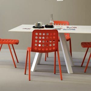 square conference table with red chairs
