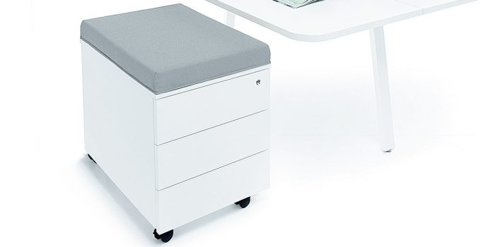 White under desk storage with grey seat