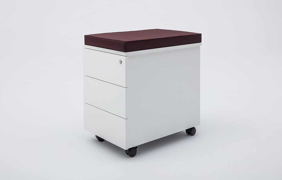 Under desk drawer with seat in red