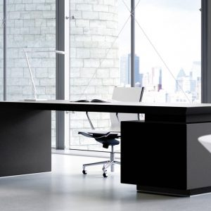 CEO black leather desk with side storage
