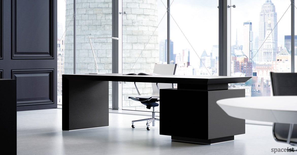 CEO Black Leather Desk With Side Storage ...