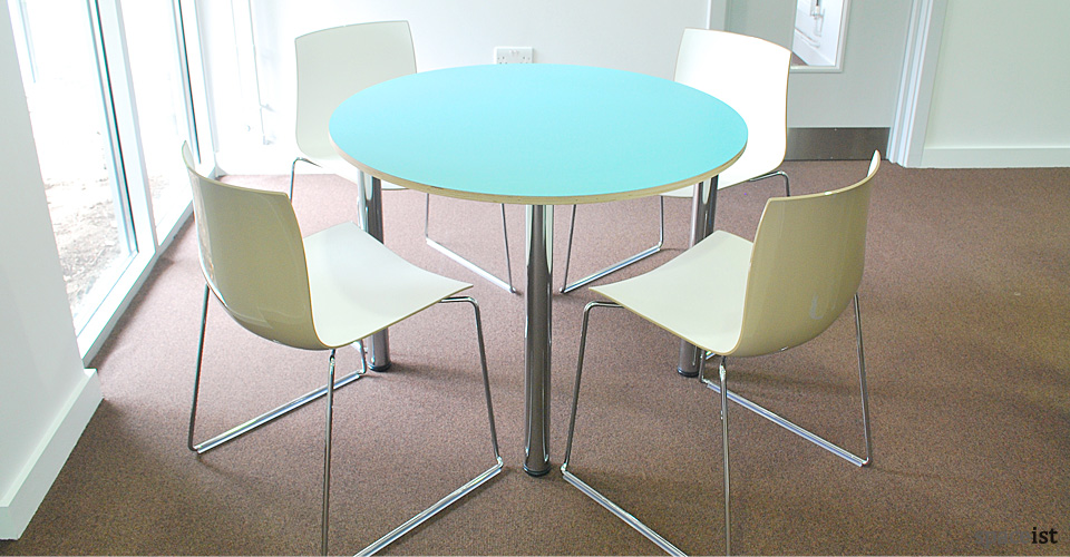 colour small round blue canteen tables