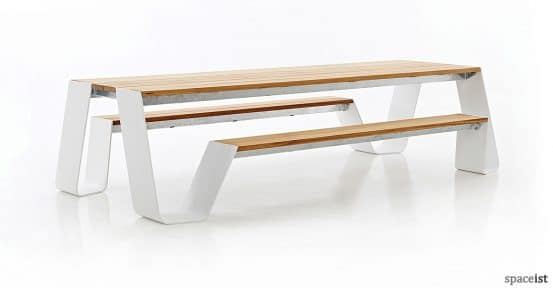 Large white outdoor picnic table with hardwood top