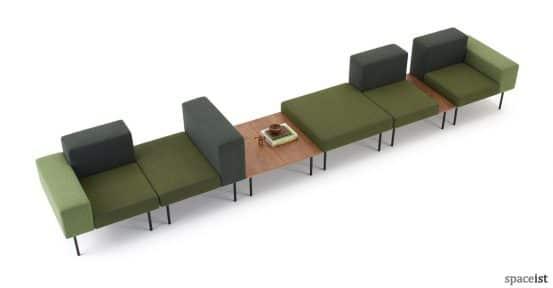 102 retro long wall sofa in green fabric