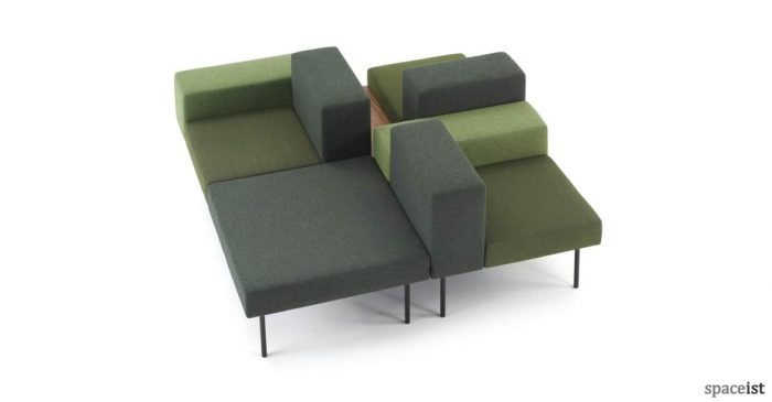 102 retro square sofa in green fabric