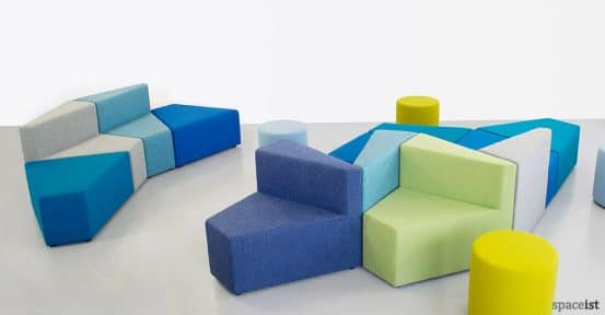 77 blue angular modular reception sofas