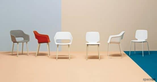 Babila red cafe chair family wood leg