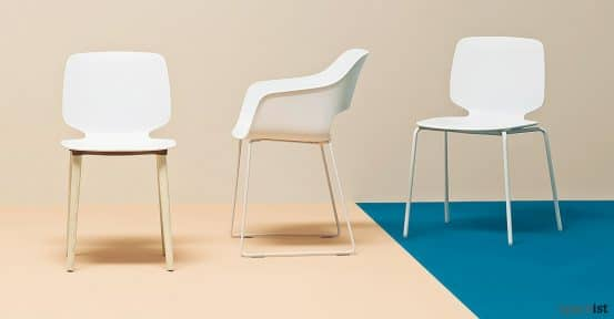 Babila white meeting chair with a sled base