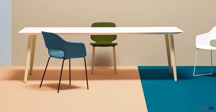 Babila white meeting table with a tapered wood leg