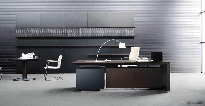 Black and white office design Monochromatic Ceo Managerial Desk With Wall Shelf Painter1 Designled Office Desks White Bench Desks Minimalist Office Desks