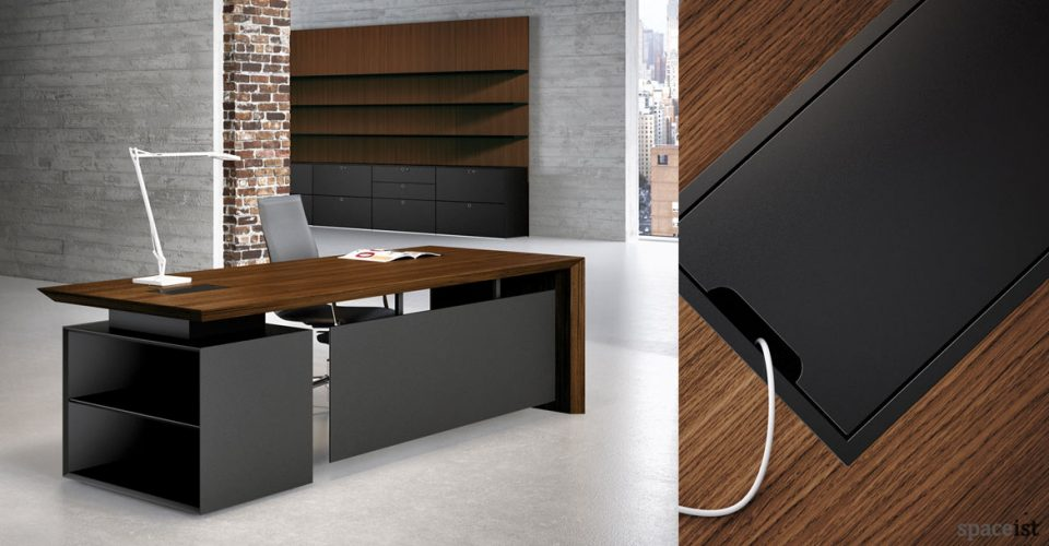 CEO walnut desk with black storage