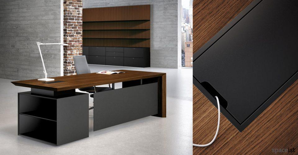 CEO walnut desk with black storage