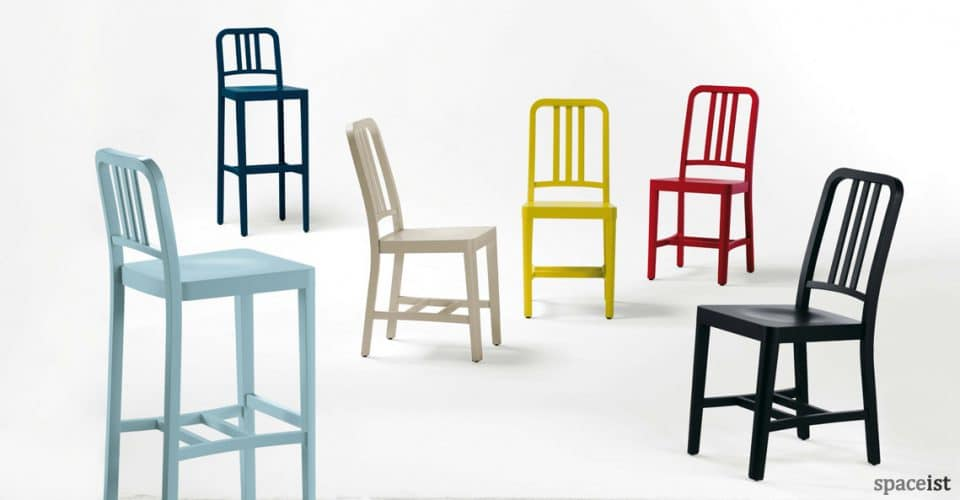 CO-2 solid beech cafe chair in yellow red blue black
