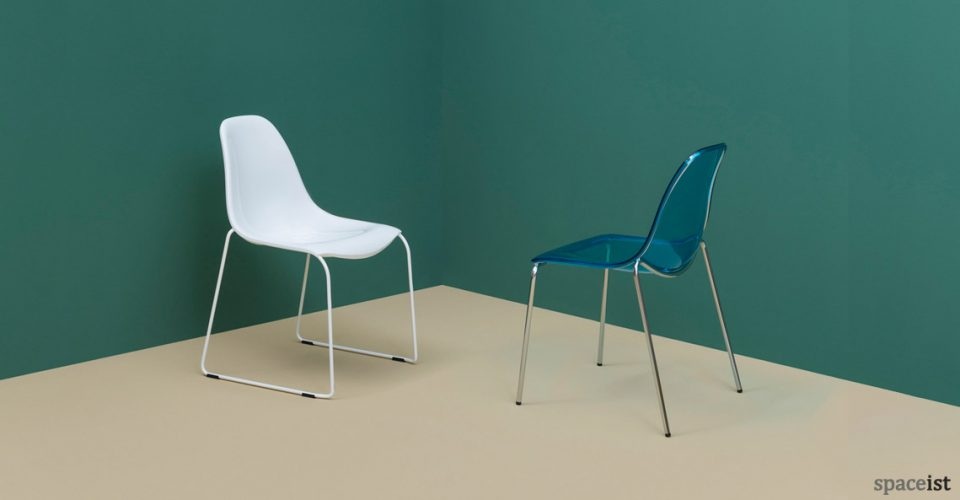Daydream white and blue cafe chairs