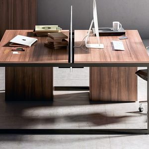 Frame walnut office desk with black leg