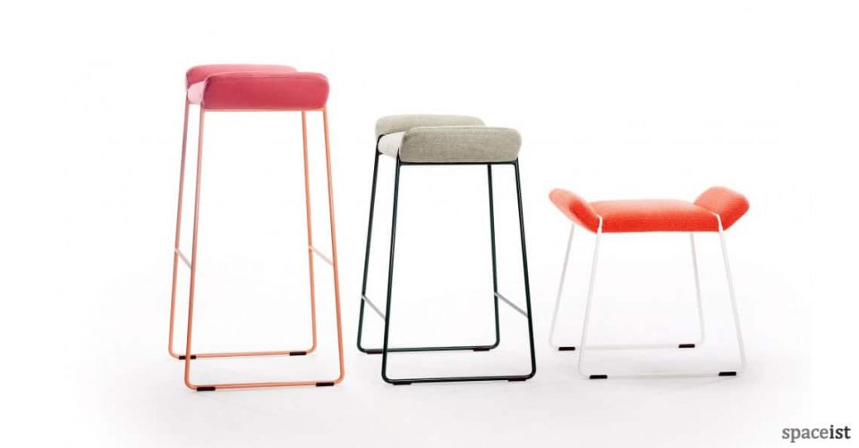 Frankie low and high stools in green fabric