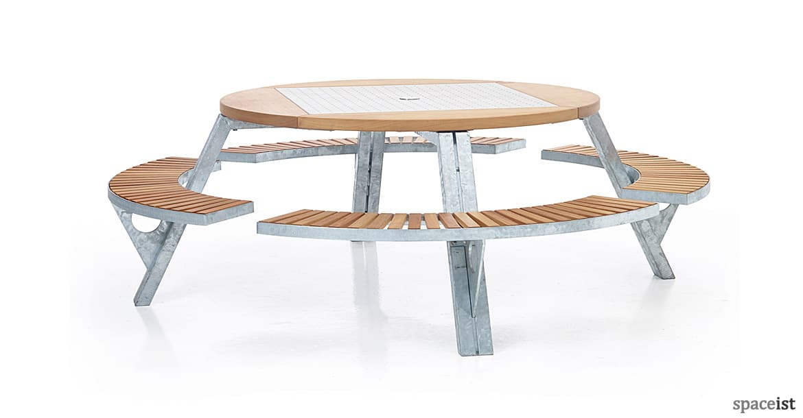 Canteen benches gargantua picnic table gargantua large round picnic table with wood seat watchthetrailerfo