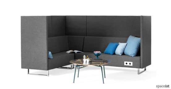 High-back corner office reception sofa in grey fabric
