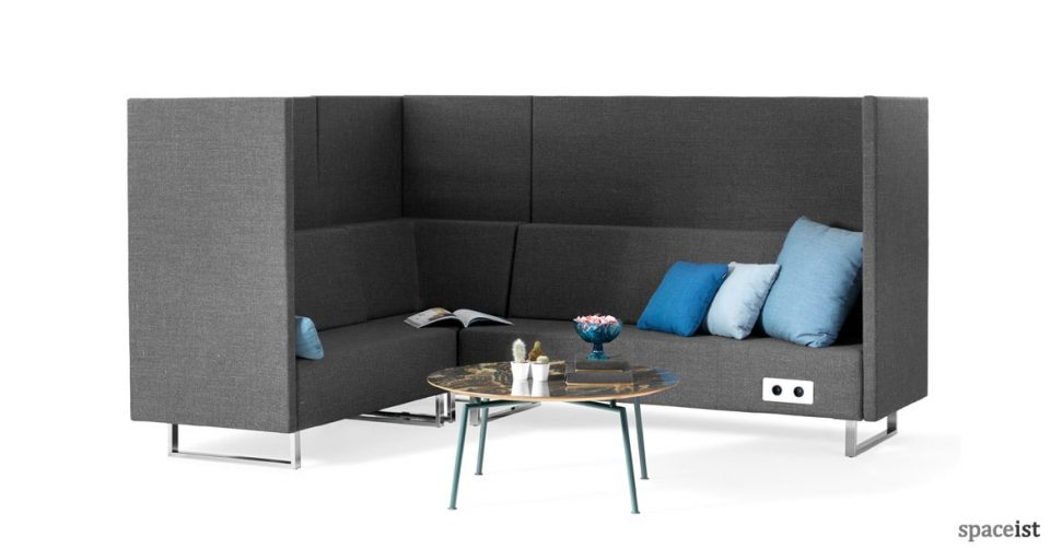 High-back corner office reception sofa in grey fabric