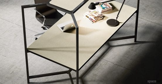 Hub office desk in black with over head frame