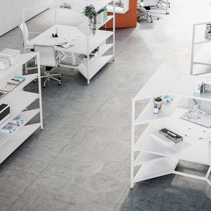 Hub workspace station in white with shelves