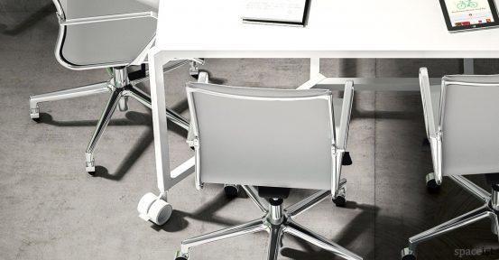 Hub square meeting table on castors closeup