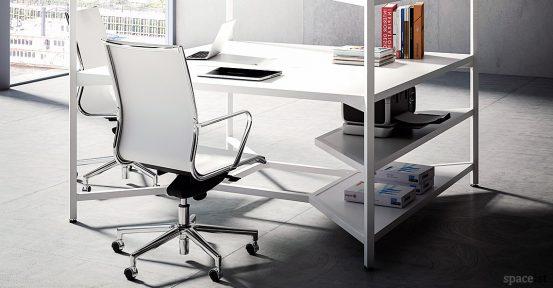 Hub square office desk closeup