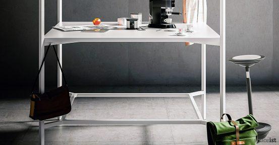 Hub square standing desk closeup