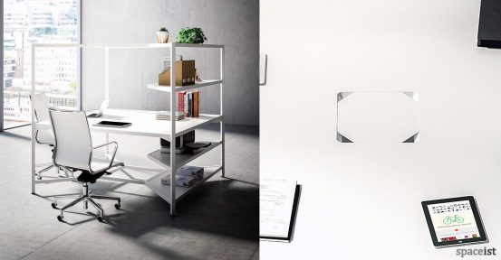 Hub square office desk with shelves