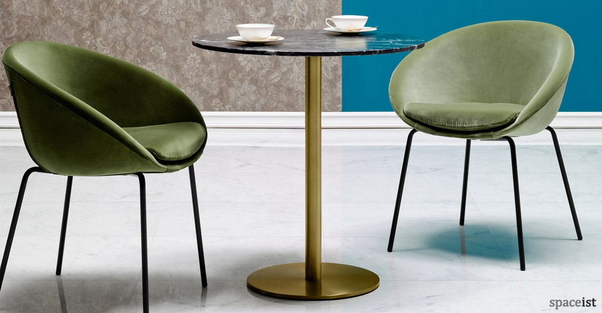 round cafe tables inox marble table. Black Bedroom Furniture Sets. Home Design Ideas