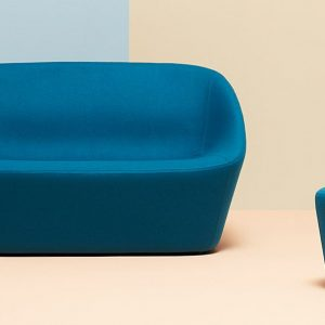 Log compact reception sofa in blue