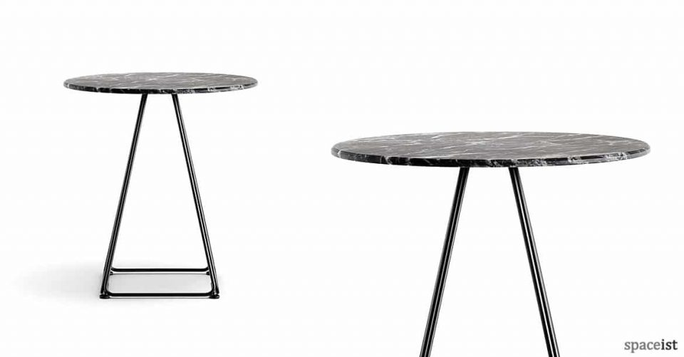 Luna black marble round cafe table