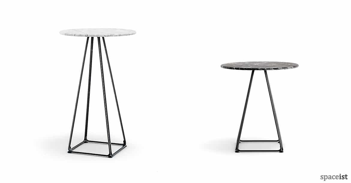 Round Cafe Tables Luna Pyramid Table Marble