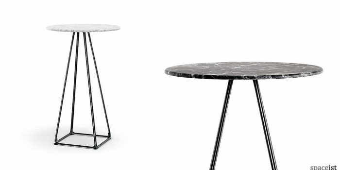 Luna pyramid style cafe table with a white marble top
