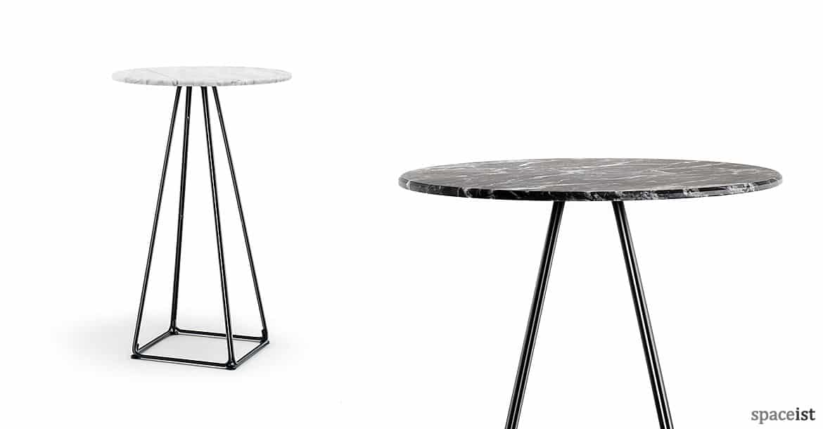 Beau Luna Pyramid Style Cafe Table With A White Marble Top