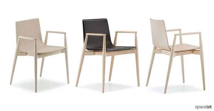 Malmo wood cafe chair with arms