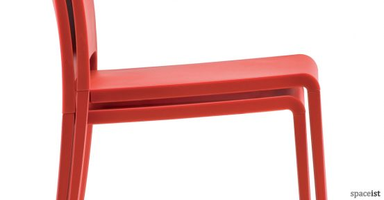 Mya red outdoor chair closeup