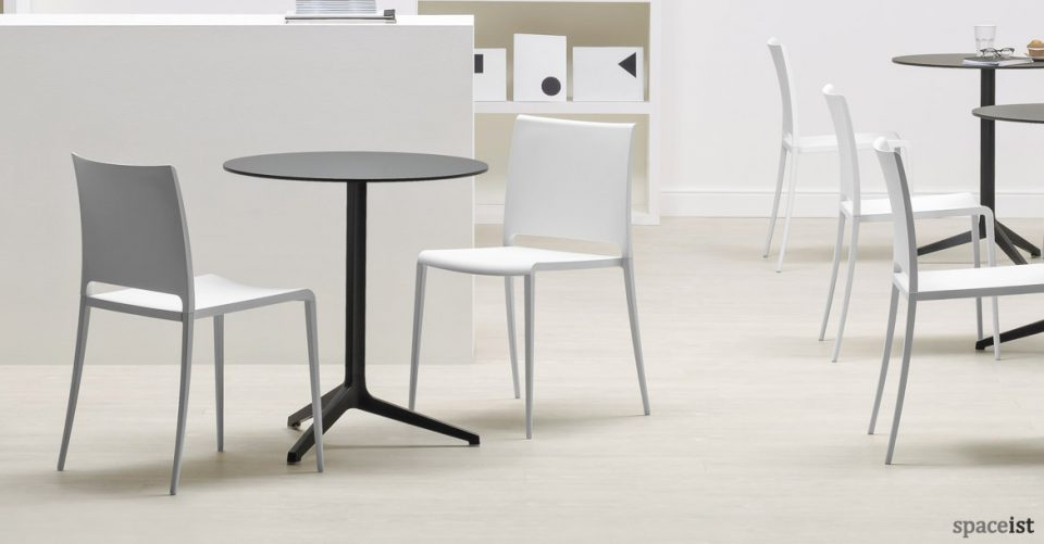 Mya outdoor white cafe chairs