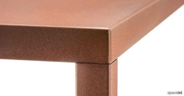 Rust colour square cafe table close up