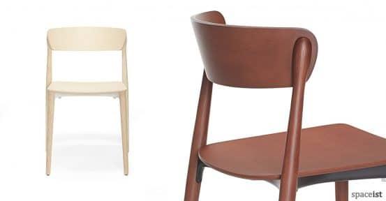 Nemea light and dark wood cafe chair