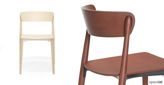 Nemea light and dark wood cafe chair